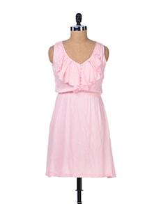 Powder Pink Ruffled Dress - Femella