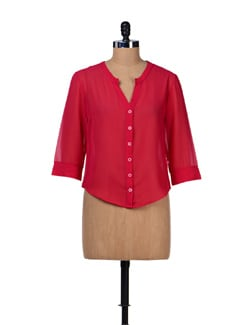 Pink Georgette Shirt - Tops And Tunics