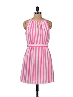 Pink And White Stripes Dress - Tops And Tunics