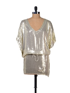 Glittery Gold Kaftan Dress - Tops And Tunics