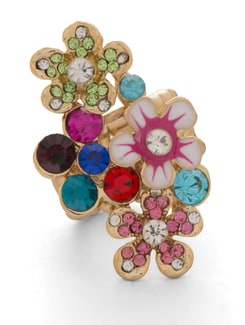 Multicoloured Floral Gold Ring - THE PARI