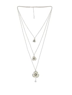 Layered Silver Floral Pendant Necklace - THE PARI