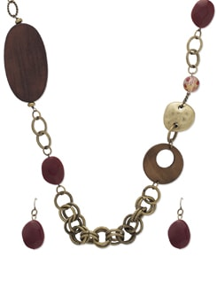 Trendy Brown & Gold Necklace Set - THE PARI