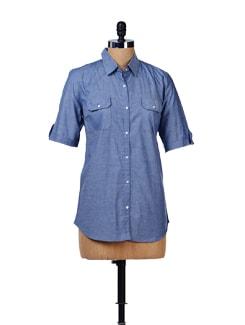 Bluish Grey Cotton Shirt - House Of Tantrums