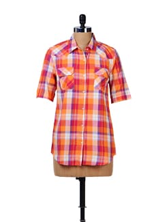 Vibrant Check Print Shirt - House Of Tantrums