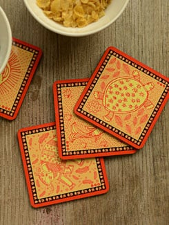 Madhubani Coasters - Set Of 4 - Mad(e) In India