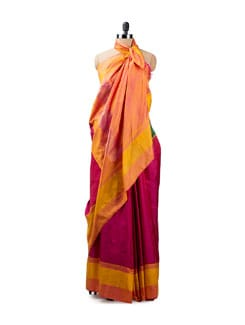 Orange, Pink And Green Ikat Silk Saree - Uppada