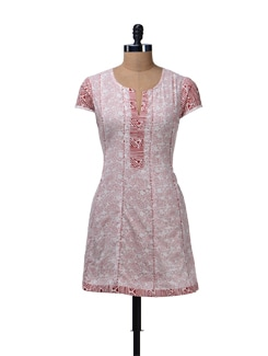 Elegant Red & White Printed Kurta - Cotton Curio
