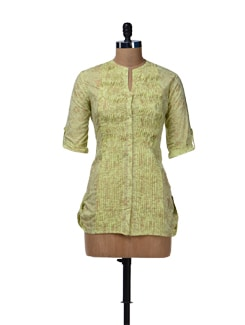 Lime Green Pleated Short Kurta - Cotton Curio