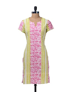 Pink & Green Floral Cotton Kurta - Cotton Curio