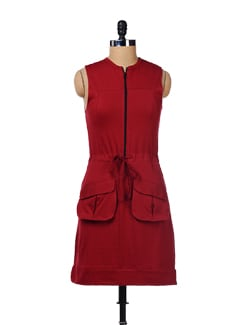 Maroon Cotton Sporty Dress - GRITSTONES