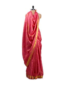 Peach And Pink Silk Saree - Uppada