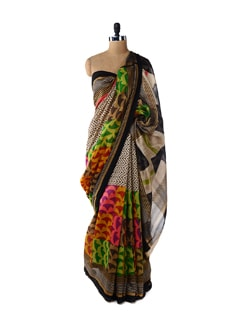 Colour And Monchrome Contrast Saree - ROOP KASHISH