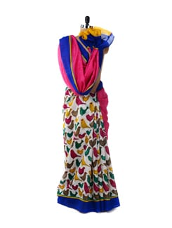 Quirky Bird Print Saree - ROOP KASHISH