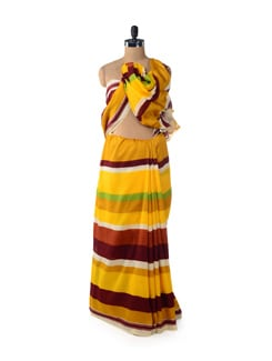 Autumn Sunshine Striped Saree - ROOP KASHISH