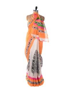 Light Orange Printed Designer Saree - ROOP KASHISH