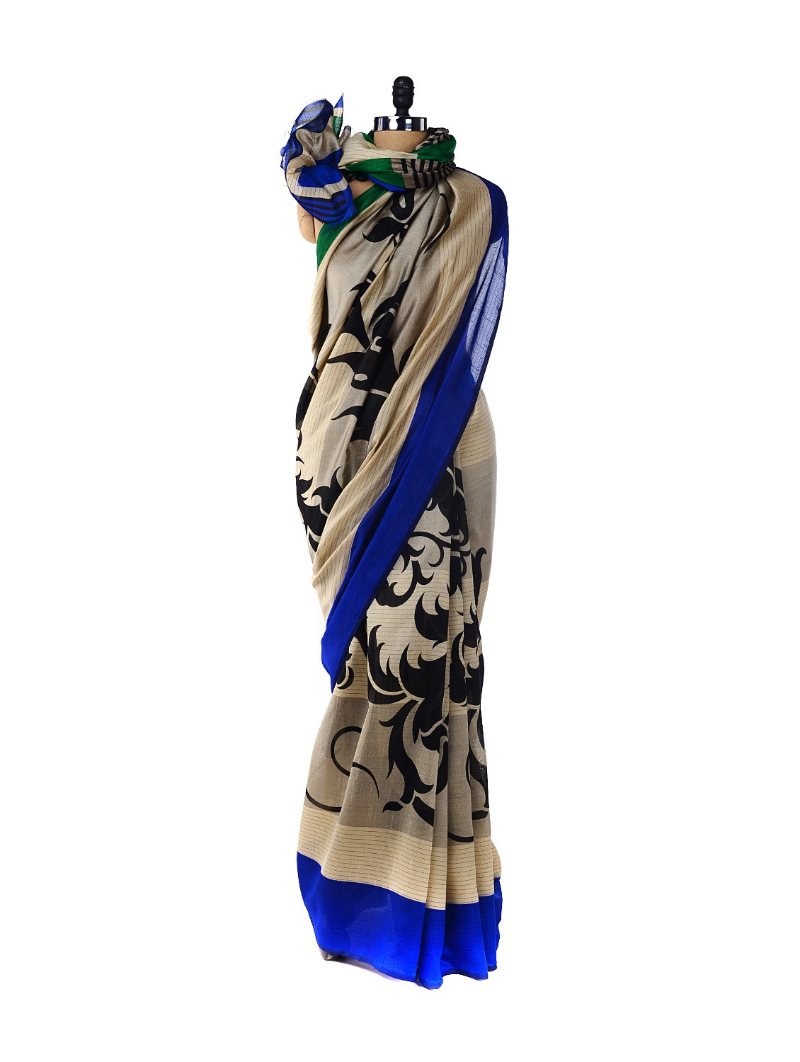 Chic Blue & White Printed Saree - ROOP KASHISH
