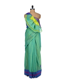 Yellow And Green Saree With Stripes - DAMA