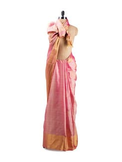 Pale Pink Silk Saree - Uppada