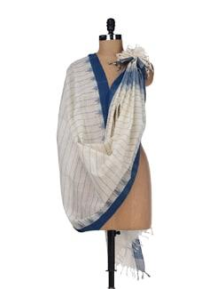 White And Blue Khadi Dupatta - DAMA