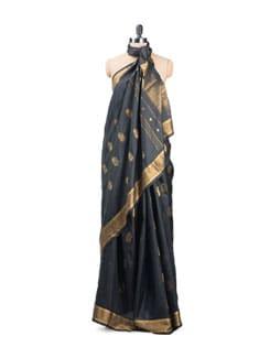 Black Jamdani Silk Saree - Uppada