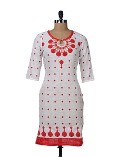 White Cotton Kurta With Red Floral Prints - W