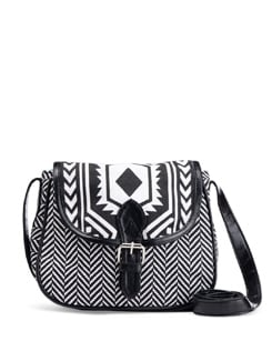 Black & White Printed Cross Body Bag - SUNNY ACCESSORY
