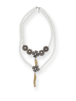 Metallic Pearl Necklace - Blend Fashion Accessories