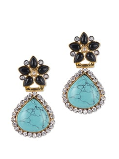 Floral Turqouise Stone Studded Earrings - Jorie Bazaar