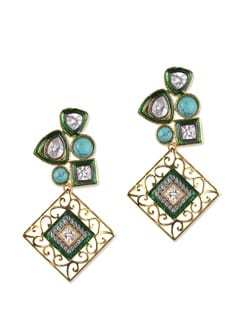 Designer Crystal And Stone Studded Earrings - Jorie Bazaar