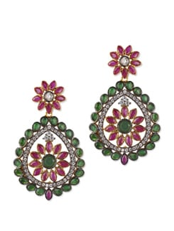 Floral Green And Red Stone Studded Earrings - Jorie Bazaar