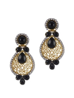 Intricate Filigree Work And Black Stones Earrings - Jorie Bazaar