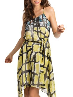 Lime Print Tropical Havana Beach Dress - PrettySecrets