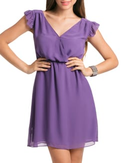 Lilac Donna Ruched Wrap Dress - PrettySecrets