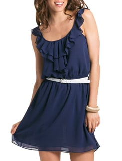 Navy Romantic Ruffle Sun Dress - PrettySecrets