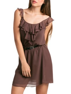 Chocolate Romantic Ruffle Sun Dress - PrettySecrets