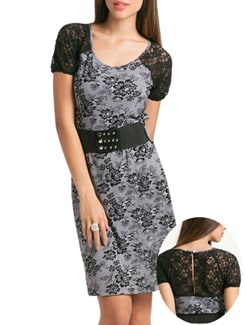 Lace Print Little Black Dress - PrettySecrets