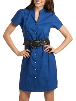 Cobalt Blue Flared Shirt Dress - PrettySecrets