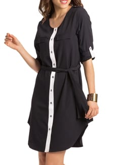 Black Ivory Belted Shirt Dress - PrettySecrets