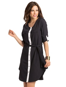 Black Ivory Belted Shirt Dress - PrettySecrets