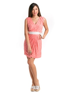 Coral Fun Polka Day Dress - PrettySecrets