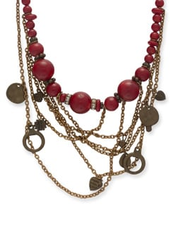 Chunky Red & Gold Necklace - Ivory Tag