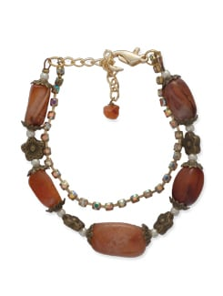 Brown & Gold Stone Bracelet - Ivory Tag