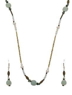 Delicate Gold & Green Jewellery Set - Ivory Tag