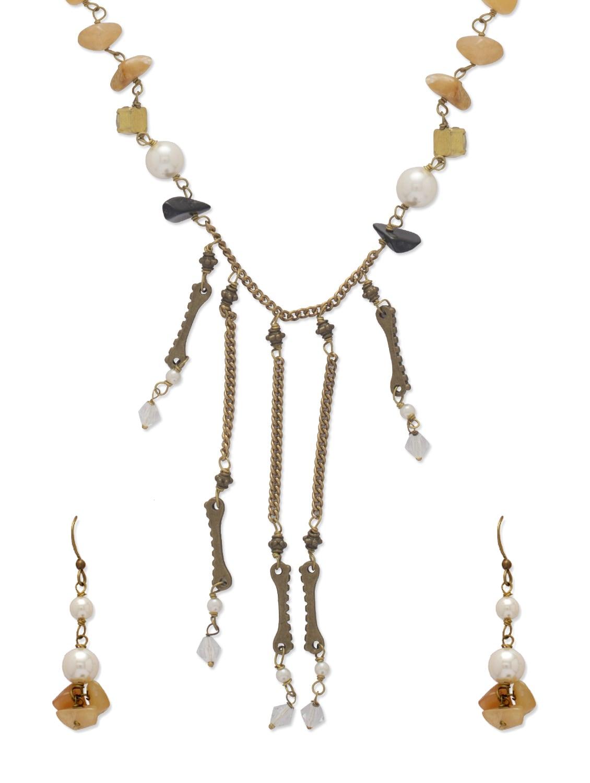Elegant Yellow & Gold Jewellery Set - Ivory Tag