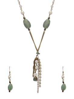 Fancy Green & Gold Jewellery Set - Ivory Tag