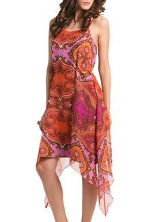 Fuchsia Paisley Tropical Havana  Beach Dress - PrettySecrets