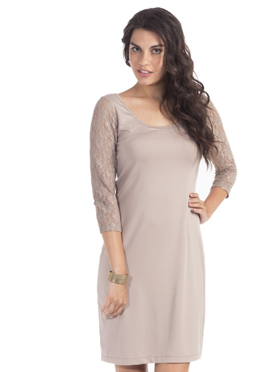 Taupe Sexy Lace Dress - PrettySecrets