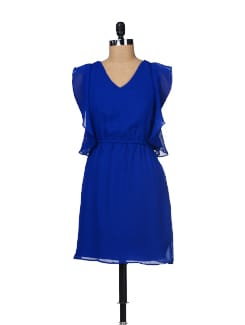 Cobalt Blue Winged Sleeves Dress - Besiva