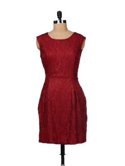 Chic Maroon Lace Dress - Besiva